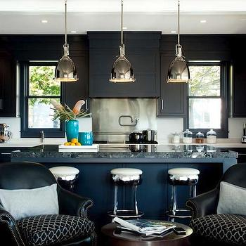 LDa Architects - kitchens - black, kitchen cabinets, black, kitchen island, black, marble, top, polished nickel, swivel, stools, pot filler, caesarstone blizzard, caesarstone blizzard countertops, Caesarstone Blizzard Countertop, Restoration Hardware Benson Pendant,