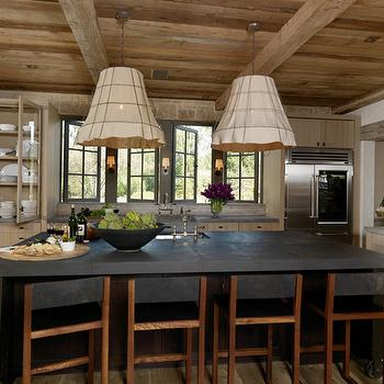 M. Elle Design - kitchens - box beams, plank ceiling, tan, kitchen cabinets, concrete, top, French windows, burlap chandeliers, cage chandeliers, iorn cage chandeliers, iron and burlap chandelier,