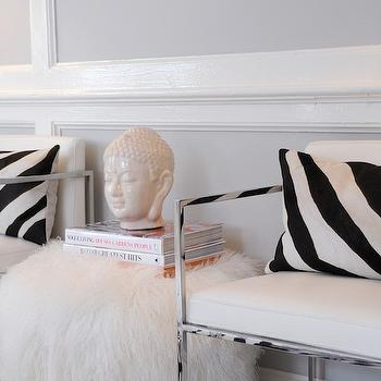 Zebra Pillows, Contemporary, den/library/office, Sam Allen Interiors