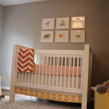Taupe Walls, Contemporary, nursery, Benjamin Moore Cumulus Cloud, Jenny Castle Design