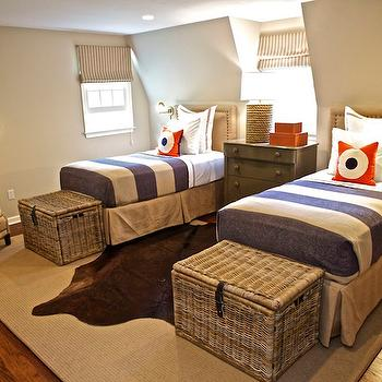 Gray and orange boys' room with tan walls, twin tan beds with French brass tacks ...