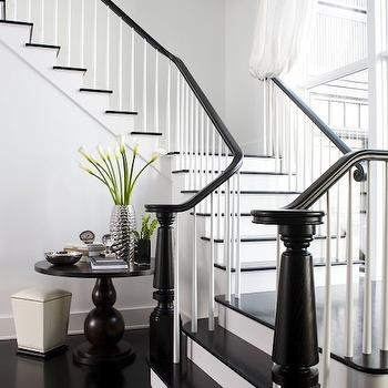 LDa Architects - entrances/foyers - gray, walls, chocolate brown, pedestal, table, glossy, black, staircase, black stair railing, stair railing,