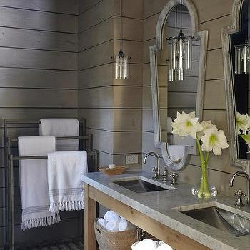 M. Elle Design - bathrooms - taupe, groove, walls, zinc, mirrors, double bathroom vanity, concrete, tops, taupe paint, taupe paint colors, taupe paint color, taupe walls, taupe bathrooms,