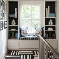 At Home in Arkansas - entrances/foyers - second floor landing, white, built-ins, window seat, West Elm, pillows, flor tiles, flor carpet tiles, black and white flor tiles, black and white carpet tiles, Flor Dashed Off - Jailbird Carpet Tile,