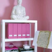 Sam Allen Interiors - girl's rooms - hot pink, walls, hot pink, linen, magazine, holders, hot pink accents, hot pink room decor, West Elm Parsons Tower,