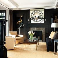 LDa Architects - living rooms - glossy, black, built-ins, moldings, fireplace, black, velvet, sofa, ivory, accent chairs, nailhead trim,  Glossy