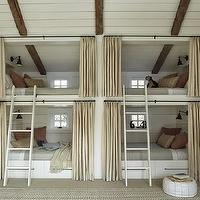 M. Elle Design - boy&#039;s rooms - built-in, bunk, beds, pods, white, wood paneling, white, ladders, heather gray, wool, blankets, peach, pillows, bunk bed ladders, removable bunk bed ladders, white bunk bed ladders, bunk beds, built in bunk beds, boys bunk beds, boys built in bunk beds, boys beds, white bunk beds, white built in bunk beds,