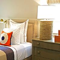 Fun boy's bedroom with twin tan headboard with French brass tacks, white hotel ...