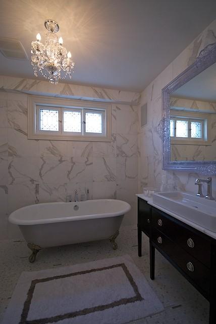 Chandelier Over Tub Contemporary Bathroom Lucid