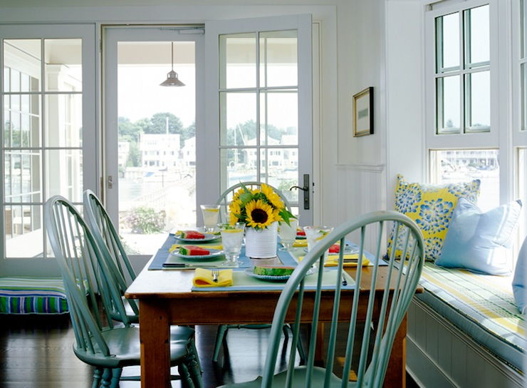Turquoise Dining Chairs - Cottage - dining room - Lynn Morgan Design