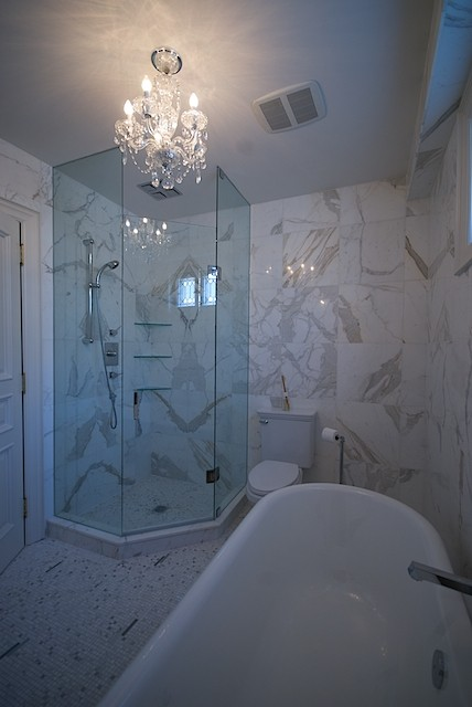 Corner Shower Contemporary Bathroom Lucid Interior