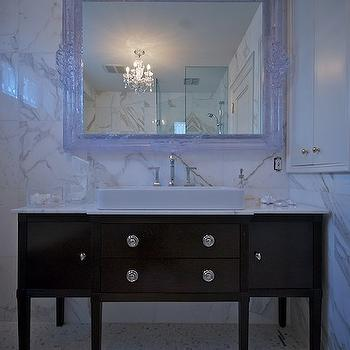Lucid Interior Design - bathrooms - white, Baroque, mirror, marble, tiles, backsplash, espresso, bathroom vanity, marble, top, white, porcelain, vessel, sink, espresso washstand, extra wide washstand, espresso single washstand, espresso vanity, espresso bathroom vanity, espresso vanity, espresso bathroom vanity,