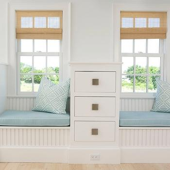 Lynn Morgan Design - bedrooms - white, beadboard, built-ins, window seats, blue, cushions, white, piping, blue, pillows, matchstick, shades, window seat, built in window seat, beadboard window seat, bedroom window seat, built in beadboard window seat, white beadboard window seat,