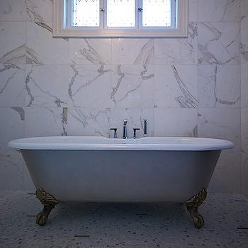 Lucid Interior Design - bathrooms - claw foot, tub, small, marble, tiles, floor, marble, tiles, backsplash, calcutta marble, calcutta marble backsplash, calcutta marble tiles, calcutta marble tile bathroom,