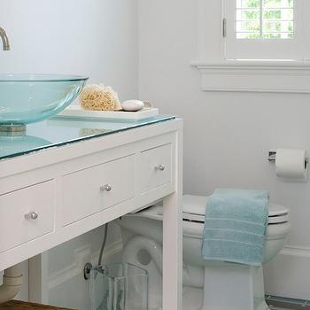 Lynn Morgan Design - bathrooms - blue, glass, subway tiles, floor, white, bathroom vanity, glass, vessel, sink, blue, towels, turquoise glass tile, turquoise glass subway tile, turquoise glass tile floor, turquoise glass floor, turquoise subway tile, turquoise subway tile floor,