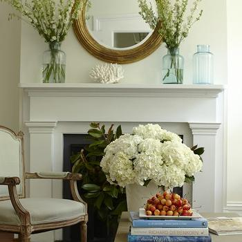 Mirror Above Fireplace, Cottage, living room, Lynn Morgan Design