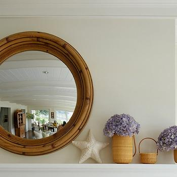 Lynn Morgan Design - living rooms - ivory, walls, round, wood, convex, mirror, starfish, hydrangeas, woven, baskets, starfish, starfish decor, starfish wall decor,