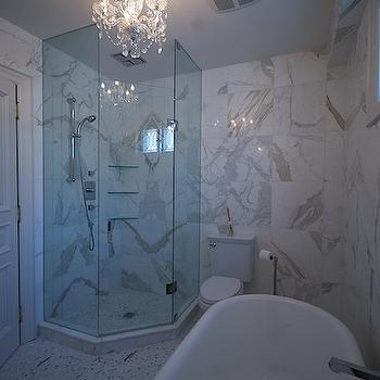 Lucid Interior Design - bathrooms - corn er, seamless glass shower, marble, tiles, shower surround, claw foot, tub, small, marble, tiles, floor, calcutta marble, calcutta marble tile, calcutta marble shower, calcutta marble tile bathroom, corner shower, corner shower design, corner shower ideas,