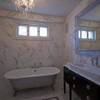 Lucid Interior Design - bathrooms - claw foot, tub, marble, tiles, backsplash, small, marble, tiles, floor, glossy, white, baroque, mirror, espresso, bathroom vanity, marble, top, white, porcelain, vessel, sink, chandelier over tub, chandelier above tub, chandelier over bathtub, chandelier above bathtub,