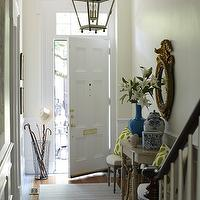 Lynn Morgan Design - entrances/foyers - townhouse, iron, lantern, wire, umbrella, stand, striped, runner, cobalt, blue, vase, Ming, ginger jars, gold, mirror, foyer lantern, lantern foyer, entrance lantern,