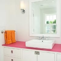 Lynn Morgan Design - bathrooms - glossy, white, lacquer, mirror, white, bathroom vanity, pink, top, orange, towels, girl bathroom, girls bathroom, girl bathroom design, girls bathroom design,