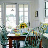 Lynn Morgan Design - dining rooms - built-in, beadboard, window seat, bench, yellow, blu, striped, cushion, yellow, blue, pillows, farmhouse, dining table, teal, blue, windsor, dining chairs, turquoise dining chairs, windsor chairs, turquoise windsor chairs, turquoise chairs,