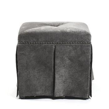 Seating - Eliza Ottoman Bench in Vanity Mouse | Vielle and Frances - gray, greek key, eliza, ottoman