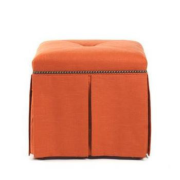 Seating - Eliza Linen Ottoman Bench | Vielle and Frances - orange, greek key, ottoman