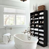 Elle Decor - bathrooms - pale, gray, walls, marble, freestanding, tub, white, carrara, marble, tiles, floor, glossy, black, cabinet, brushed nickel, tub-filler,