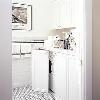 laundry/mud rooms - white, shaker, cabinets, marble, countertops, marble, basketweave, tiles, floor, subway tiles, backsplash, hidden washer and dryer, folding cabinet doors,