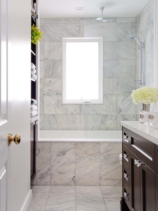 Calcutta Gold Marble Contemporary Bathroom