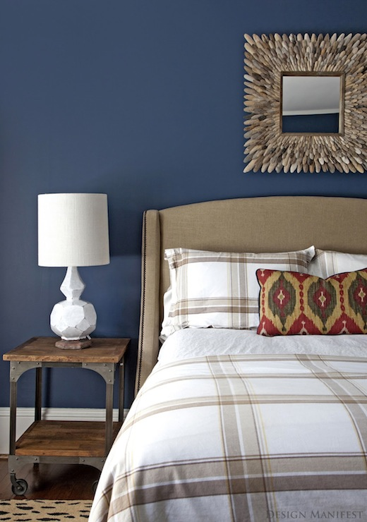 Design Manifest - boy's rooms - Benjamin Moore - Van Deusen Blue - West Elm Terracotta Lamp, Etsy Driftwood Mirror, bold, blue, walls, red, green, yellow, ikat, pillow, industrial, table, camel, linen, wingback, headboard, French, brass, tacks, blue walls, blue paint, blue paint color, blue boys bedroom walls, blue boys bedroom paint, blue boys bedroom paint color,