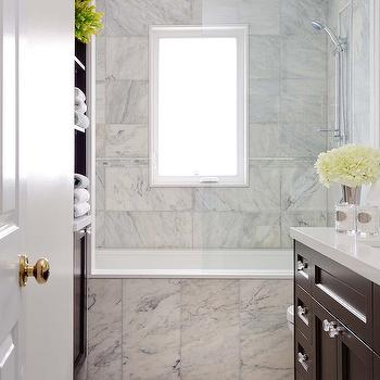 Buchman Photo - bathrooms - built-ins, rain, shower head, drop-in, tub, marble, tiles, shower surround, glossy, chocolate brown, bathroom vanity, calcutta gold marble, calcutta gold, calcutta gold marble shower, calcutta gold marble shower tile, calcutta gold marble bathroom,
