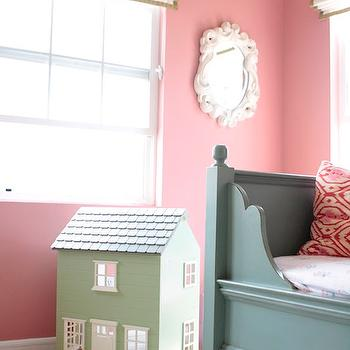 Me oh my! - girl's rooms - pink, walls, white, roman shades, green, ribbon, trim, blue, daybed, pink, ikat pillow, green, dollhouse, pink paint, pink walls, pink girls room walls, pink paint, pink paint colors, pink girls room paint colors,