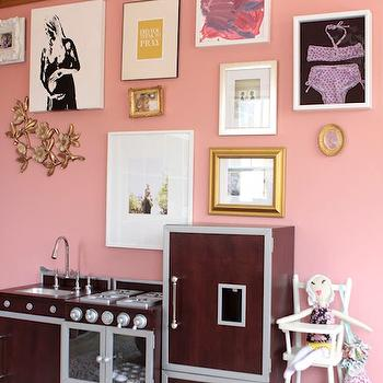 Me oh my! - girl's rooms - Benjamin Moore - Cool Lava - pink, walls, play kitchen, eclectic, art gallery, play kitchen,  Sweet girl's room with