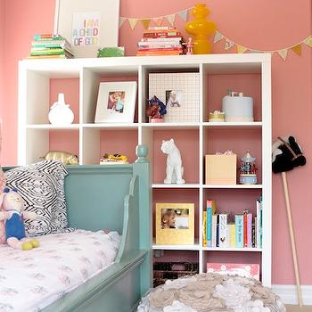 Me oh my! - girl's rooms - Benjamin Moore - Cool Lava - coral, pink, walls, blue, daybed, ikea expedit, expedit bookcase, ikea expedit bookcase, white ikea bookcase, white ikea expedit bookcase,