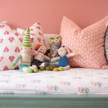 Me oh my! - girl's rooms - Benjamin Moore - Cool Lava - coral, pink, walls, seafoam, green, daybed, pink, pillows, pink paint, pink walls, pink girls room walls, pink paint, pink paint colors, pink girls room paint colors,