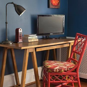 Design Manifest - boy's rooms - red, chair, bold, blue, walls, white, lattice, radiator, cover, wood sawhorse desk, sawhorse desk, World Market Natural Charles Sawhorse Desk, Benjamin Moore Ladybug Red,