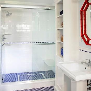 Design Manifest - bathrooms - shower, blue, vintage, penny, tiles, red, faux bamboo, mirror, glossy, white, pedestal, sink, white, built-ins, boys bathroom, boys bathroom design, white and blue boys bathroom, blue and red boys bathroom, Visual Comfort Lighting Boston Square 3 Light Sconce,
