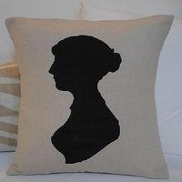 Pillows - Dear Lillie ??? Jane Austen Silhouette Pillow Cover Facing Left - jane austen, silhouette, pillow