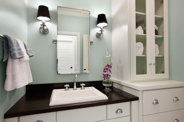 Blue green paint colors contemporary bathroom for Green bathroom paint colors