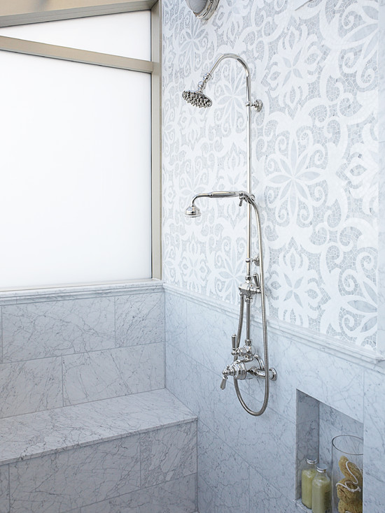 Mahogany Builders - bathrooms - polished nickel, rain, shower, kit, marble, shower bench, marble, tiles, shower surround, mosaic, marble, tiles, backsplash,