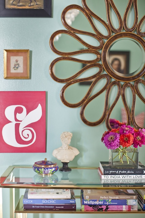 Caitlin Wilson Design - dens/libraries/offices - Benjamin Moore - Key Largo Green - green, walls, flower, mirror, vintage, Baker, console, table, eclectic, art gallery, gold sunburst mirror, sunflower mirror, gold sunflower mirror,