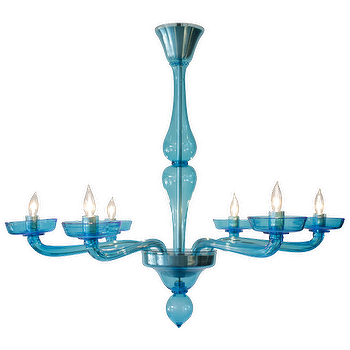 Lighting - Cerulean Blue Murano Glass Chandelier - cerulean, blue, murano, glass, chandelier