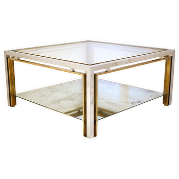 Tables - Chrome & Brass Maison Charles Coffee Table - chrome, brass, maison, charles, coffee table