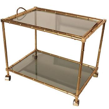Storage Furniture - Vintage French Art Deco Bar Cart - vintage, French, art deco, barcart