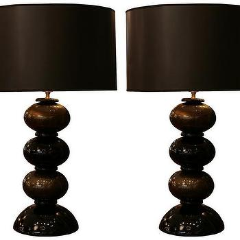Lighting - Italian Vintage Murano Glass Lamps - Italian, vintage, murano, glass, lamps, black