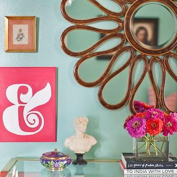 Caitlin Wilson Design - dens/libraries/offices - green, walls, flower, mirror, vintage, Baker, console, table, eclectic, art gallery, gold sunburst mirror, sunflower mirror, gold sunflower mirror,