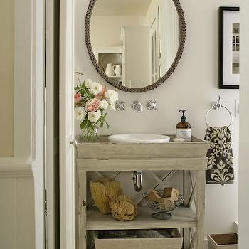 BHG - bathrooms - gray washed, single bathroom vanity, polished nickel, wall-mount, faucet, kit, vintage, oval, mirror, ivory, black, damask, towel, plank, floors, gray vanity, gray bathroom vanity, gray washstand, gray washed vanity, gray washed bathroom vanity,