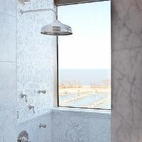 Mahogany Builders - bathrooms - polished nickel, rain, shower kit, marble, tiles, shower surround, mosaic, marble, tiles, backsplash,  Glam high-rise
